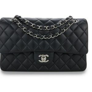 Chanel Black Leather Double Flap Bag